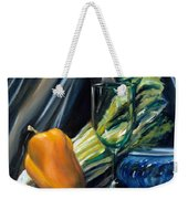Still Life With Yellow Pepper Bok Choy Glass And Dish Weekender Tote Bag