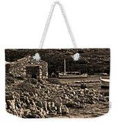 Roman Port Of Sa Nitja In Minorca - Stone And Sea Sephia Version Weekender Tote Bag