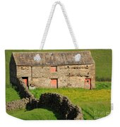 Stone Barn With Red Doors In Swaledale Yorkshire Dales Weekender Tote Bag