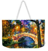 Stone Bridge - Palette Knife Oil Painting On Canvas By Leonid Afremov Weekender Tote Bag