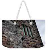 Stone Building Facade With Trefoil Window And Carved Detail Weekender Tote Bag