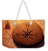Stone Compass On Old Map Weekender Tote Bag by Garry Gay