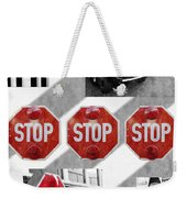 Stop For Students Painterly Bw Red Signs Weekender Tote Bag