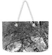 Storm Over The Cottonwood Trees - Black And White Weekender Tote Bag