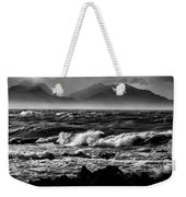 Stormy Coast New Zealand In Black And White Weekender Tote Bag