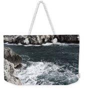 Mediterranean Sea And Rocks Sculpted By Wind And Salt In South Of Menorca Weekender Tote Bag