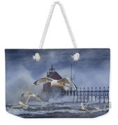 Stormy Weather At The Grand Haven Lighthouse Weekender Tote Bag