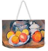 Straw Covered Vase Sugar Bowl And Apples Weekender Tote Bag