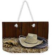 Straw Hat  On  Hay Weekender Tote Bag