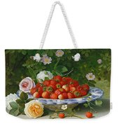 Strawberries In A Blue And White Buckelteller With Roses And Sweet Briar On A Ledge Weekender Tote Bag by William Hammer