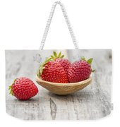Strawberries In A Wooden Spoon Weekender Tote Bag