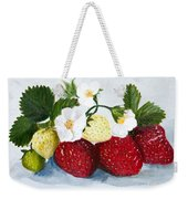 Strawberries With Blossoms Weekender Tote Bag