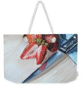 Strawberries With Knife Weekender Tote Bag