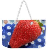 Strawberry On Blue Plate Weekender Tote Bag