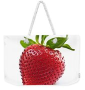 Strawberry On White Background Weekender Tote Bag by Elena Elisseeva