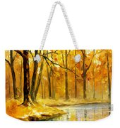 Stream In The Forest - Palette Knife Oil Painting On Canvas By Leonid Afremov Weekender Tote Bag