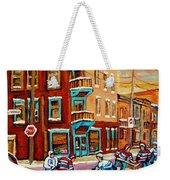 Street Hockey Practice Wilensky's Diner Montreal Winter Street Scenes Paintings Carole Spandau Weekender Tote Bag
