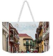 Street Scene In Old Town, Cartagena Weekender Tote Bag