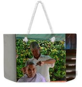 Street Side Barber Cuts Client Hair Singapore Weekender Tote Bag
