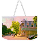Streets Of Pointe St Charles Summer Scene Connies Pizza Rue Charlevoix Et Grand Trunk Carole Spandau Weekender Tote Bag