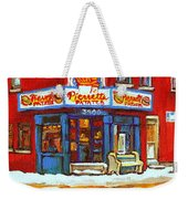 Streets Of Verdun Hockey Game At Famous Verdun Restaurant Pierrette Patates Montreal Hockey Art  Weekender Tote Bag
