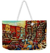 Streets Of Verdun Paintings He Shoots He Scores Our Hockey Town Forever Montreal City Scenes  Weekender Tote Bag