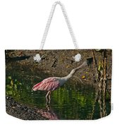 Stretched Out Pink Spoonbill Weekender Tote Bag