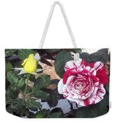 Striped Rose And Yellow Weekender Tote Bag