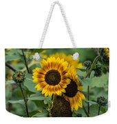 Striped Sunflower Weekender Tote Bag
