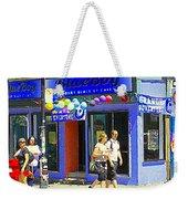 Strolling By The Blue Boy Frozen Yogurt Glacee Cafe Plateau Mont Royal City Scene Carole Spandau   Weekender Tote Bag