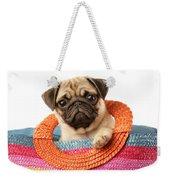 Stuck Pug Weekender Tote Bag by Greg Cuddiford