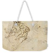 Studies For A Virgin And Child And Of Heads In Profile And Machines, C.1478-80 Pencil And Ink Weekender Tote Bag