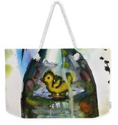 Study - Yellow Ducky In  Bottle Weekender Tote Bag