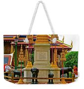 Stupa Surrounded By Elephants At Grand Palace Of Thailand In Ban Weekender Tote Bag