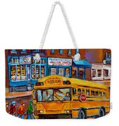 St.viateur Bagel And School Bus Montreal Urban City Scene Weekender Tote Bag
