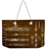 Submarine Blueprint Vintage On Distressed Worn Parchment Weekender Tote Bag
