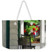 Suburbs - Porch With Rocking Chair And Geraniums Weekender Tote Bag by Susan Savad