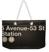Subway Station Sign Weekender Tote Bag