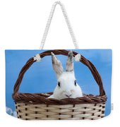 sugar the easter bunny 4 - A curious and cute white rabbit in a hand basket  Weekender Tote Bag