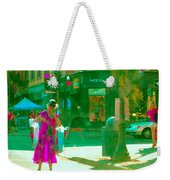 Summer Heatwave Too Hot To Walk Lady Hailing Taxi Cab At Hogg Hardware Rue Sherbrooke Carole Spandau Weekender Tote Bag