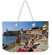 Sun Bathers In Sestri Levante In The Italian Riviera In Liguria Italy Weekender Tote Bag