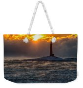 Sun Climbing Over Thacher Island Lighthouse Weekender Tote Bag