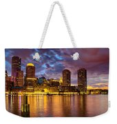 Sun Dusk Over Boston Harbor Weekender Tote Bag