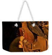 Sun On Leather Horse Saddle In Tack Room Equestrian Fine Art Photography Print Weekender Tote Bag