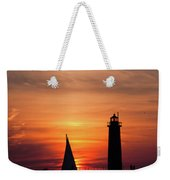 Sun Set At The Muskegon Lighthouse Weekender Tote Bag