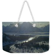 1m9313-sunburst Over Grand Teton, Wy Weekender Tote Bag