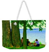 Sunday Picnic On The Lake Maple Trees At The Canal Pte Claire Montreal Waterscene Carole Spandau Weekender Tote Bag