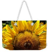 Sunflower And Two Bees Weekender Tote Bag