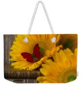 Sunflowers And Old Books Weekender Tote Bag by Garry Gay