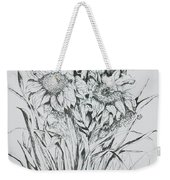 Sunflowers Black And White Weekender Tote Bag